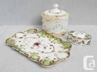 1.Antique Victorian dressing set. hand-painted milk