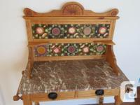 English Victorian Marble topped Pine Washstand with