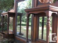 Large antique Victorian oak mirror (originally from