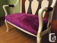 Cute and sturdy. Painted white with vintage purple