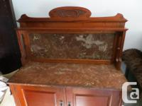 Beautiful cherry and red marble wash stand, carved wood