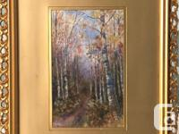 """"""" Wooded Path"""" in a Antique Gold Gilded Frame 18 1/2"""" x"""