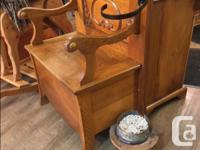 Antique Wooden Hall Stand With Storage under Seat Cane