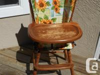Antique Wooden High Chair can be used with or without