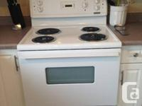 White Frigidaire Oven and Range Hood. Clean, Works