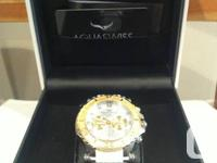 AquaSwiss Gold watch with white strap. Brand new