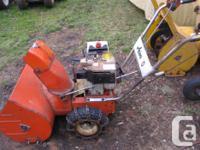Electric start, 7 hp Tecumseh engine, 5 speed forward,
