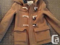 Mint condition Wool TNA Duffle coat, size small, camel