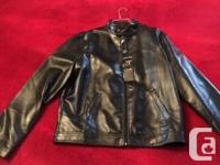 One Armani Collezioni Black Leather Jacket, New with