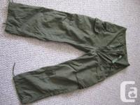 Olive color windproof lightweight fatigue pants, waist
