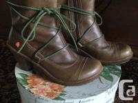 Brown leather boots by ART with 100% natural rubber