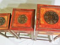 Three wooden Asian vintage style stands that stack