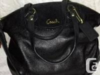 Beautifil large size leather coach bag with black silk