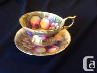 AYNSLEY ATHENS ORCHARD FRUIT  TEA CUP AND SAUCER