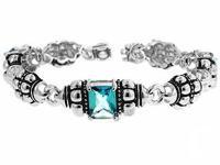 Aqua CZ Ball Bracelet White Gold Rhodium Bonded 7.25