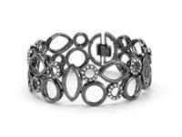 Assorted Geometric CZ Bracelet Hematite Bonded