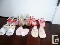 Here are 6 pairs of baby girl shoes. Brands include