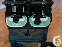 This side-by-side double stroller is lightly used and