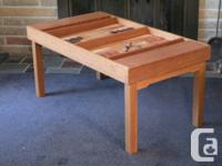 Beautifully made 1970s game table.  Teak and mahogany