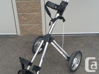 Three Wheeled Bag Boy Golf Cart c/w Umbrella Holder and