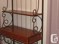 bakers  rack like new c/w wood drawers , wine rack see