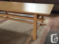 Light honey coloured bamboo coffee table, 5 years old,