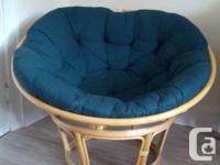 Beautiful, large papasan chair, with dark green cushion
