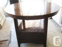 Bar height table all hardwood mahogany with central