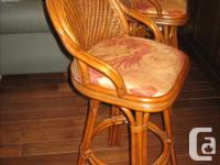 3 rattan swivel bar stools By Ratana, Model Alison