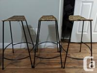 Selling our 3 unique bar stools that have been barely