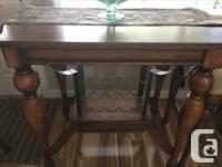 Solid wood table and stools with leather inlay and