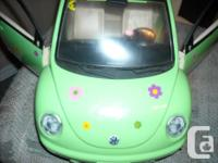 Barbie Volkswagon bug toy car, green, with flower