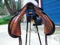 """161/2"""" allpurpose Barnsby saddle for sale. Has long"""
