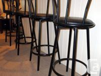 Bar Stools. Black colour with padded seats, outstanding