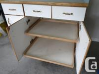 """White melamine with oak trim. Consists of a 15"""" wide for sale  British Columbia"""