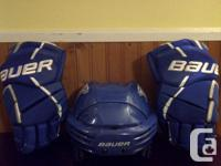 Blue Bauer Concussion proof helmet (BHH7500) and Vapor