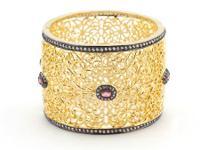 Black And Gold Filigree Bangle Bracelet 14k Gold and