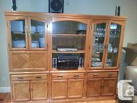 BEAUTIFUL PRE-OWNED 3 PIECE WOODEN WALL UNIT FOR SALE.