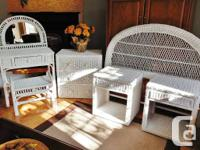 This is a beautiful 6pc white wicker bedroom set with a