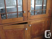 Antique wood hutch, black and white knobs, inside