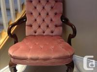Beautiful dusty rose wing back arm chair rarely used as