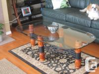 Absolutely gorgeous glass-topped coffee table and two