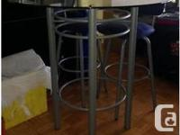 Beautiful contemporary glass bistro table with matching