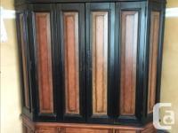 Beautiful Vintag-y Corner Unit. Hinged doors to fold