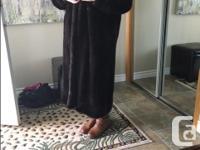 Full length dark brown ranch mink fur coat. Purchased