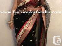 This black color sarees are evergreen and they look
