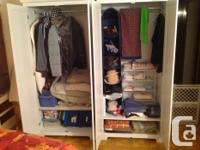 2 wide, double wardrobes, with clothes hangers and one