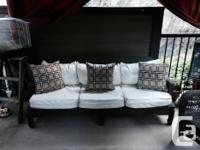 White Vinyl, wooden couch with brand new brown and