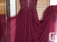 Cherry red prom dress with sequinned bodice in perfect