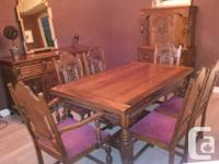 Attractive 'Krug' Antique Oak Eating Room Collection,